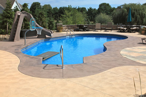 colored and sandblasted concrete pool deck