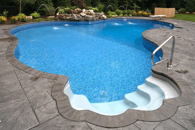 engraved concrete pool deck